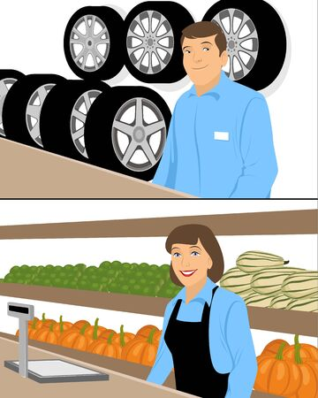 traders: Vector illustration of a  traders behind counter