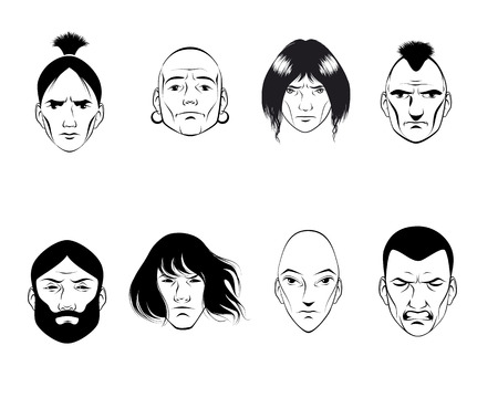 bald woman: Vector illustration of a set of eight persons