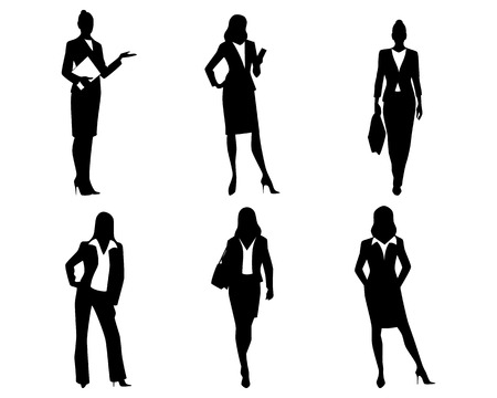 attitude: Ilustración vectorial de un seis siluetas empresarias