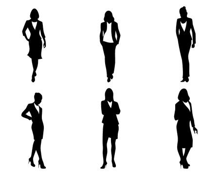 persona de pie: Ilustración vectorial de un seis empresarias establecido