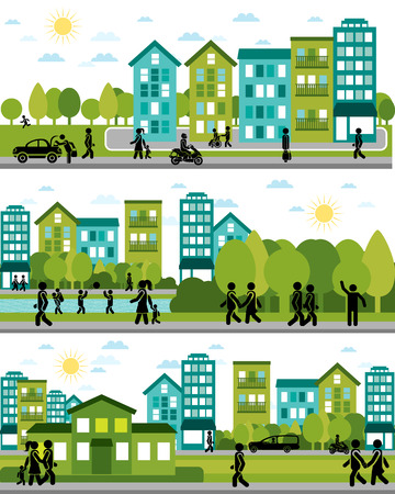 community: Vector illustration of a three city life scenes