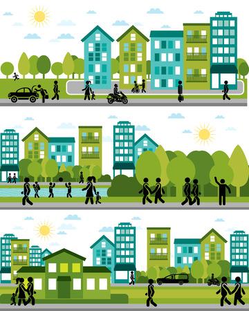 community: Vector illustration of a three city life scenes