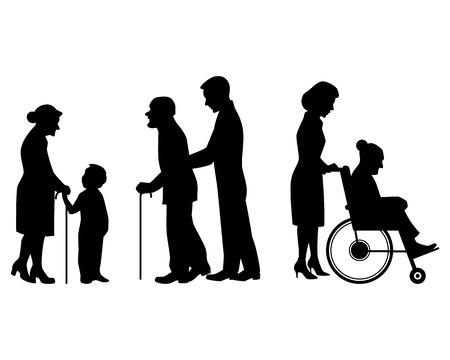 Vector illustration of a elderly people silhouettes Çizim
