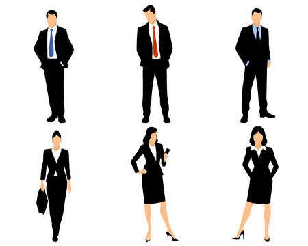 Vector illustration of a white collar workers