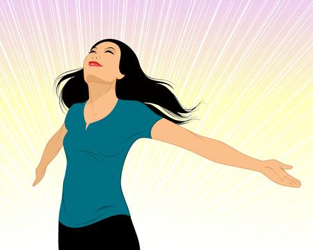 illustrazione vettoriale di una ragazza allargò le braccia