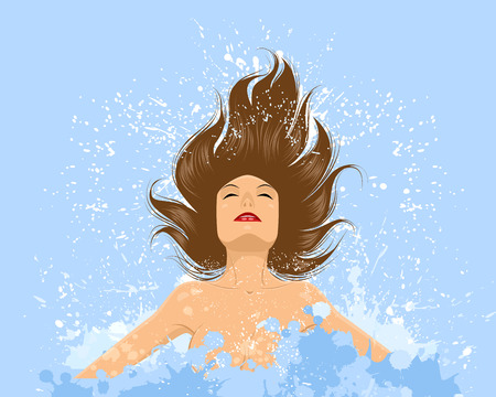 Vector illustration of a girl emerges from the water Illustration
