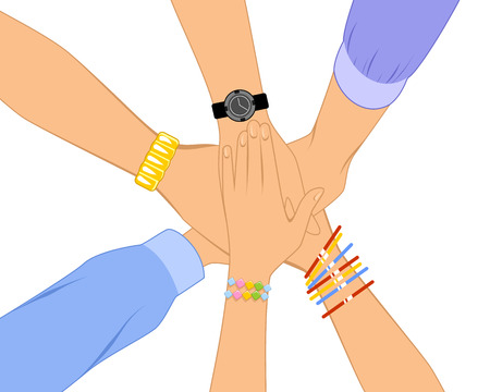 handclasp: Vector illustration of a bunch of hands Illustration