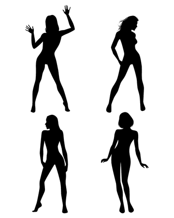 Vector illustration of a four girls silhouettes