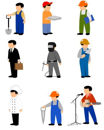 industrial worker: Vector illustration of a nine professions set