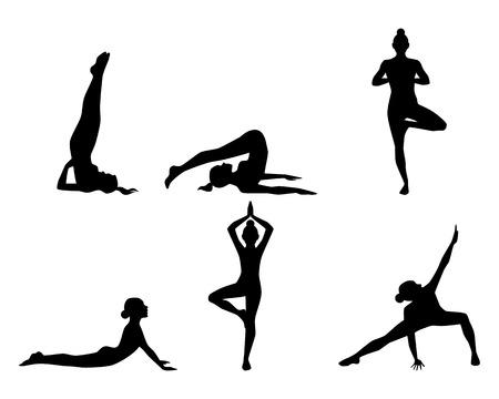 siluetas mujeres: Ilustraci�n vectorial de una yoga practicante de la muchacha