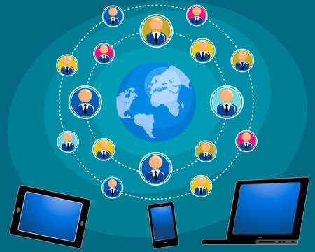 networking people: Vector illustration of a internet connects people
