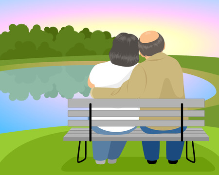 mature: Vector illustration of elderly couple on a bench