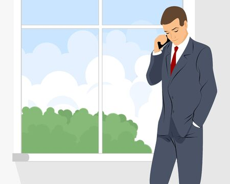 phone and call: Vector illustration of a businessman talking by phone