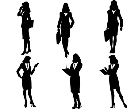 woman cellphone: Vector illustration of a six businesswomen silhouettes Illustration