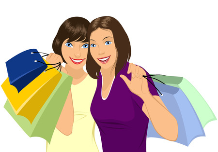 lady shopping: illustration of girls doing shopping Illustration