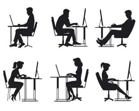illustratie van een mensen die werken op de computer Stock Illustratie