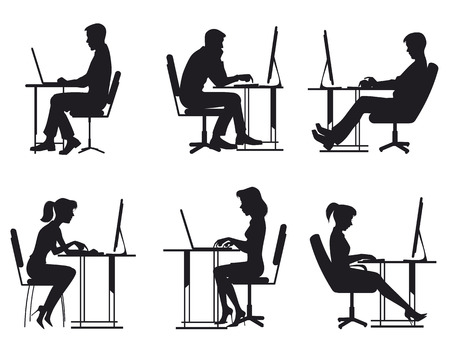 girl using laptop: illustration of a people working at computer