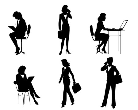 people laptop: illustration of a six businesswomen silhouettes