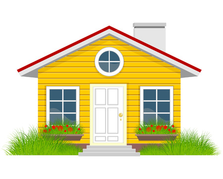 family home: illustration of a house with grassplot Illustration