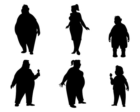obese person: illustration of a six fat people silhouettes