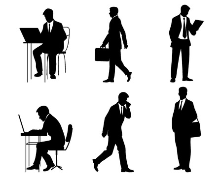 businessman suit: illustration of a six businessmen silhouettes