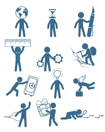 pushes: illustration of a people in business set