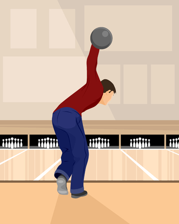 illustration of a bowler playing bowling Imagens - 43856573