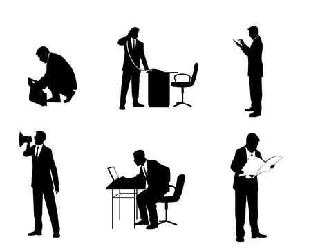 people standing: illustration of a six businessmen silhouettes