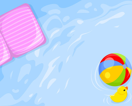 illustration of water, mattress, ball and duck toy