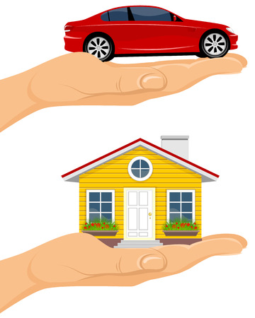 new opportunity: illustration of a house and car in hands