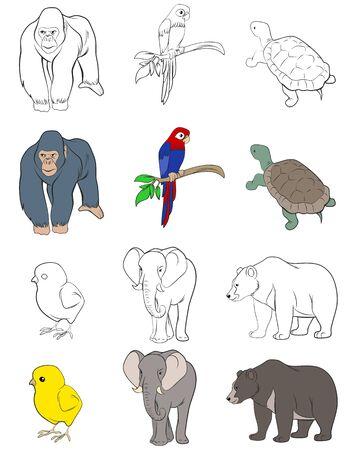 illustration of a six animals set