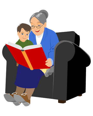 mature: Grandmother reading a story to her grandson