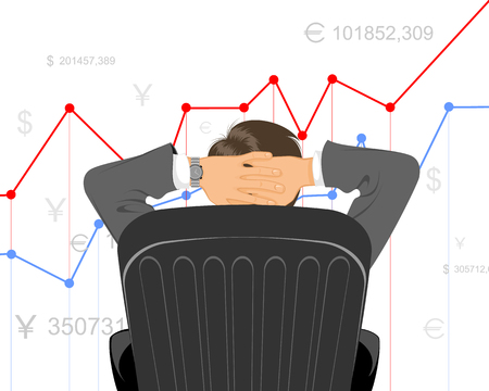 illustration of a trader watching schedule Illustration