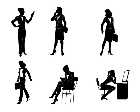 woman cellphone: illustration of a six businesswomen silhouettes