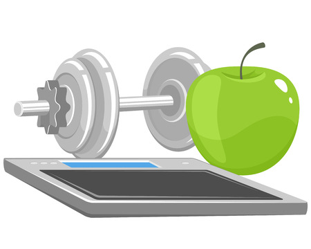 energy balance: illustration of a dumbbells, apple and scales Illustration