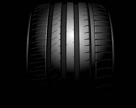 tire: illustration of a new auto tire on black Illustration