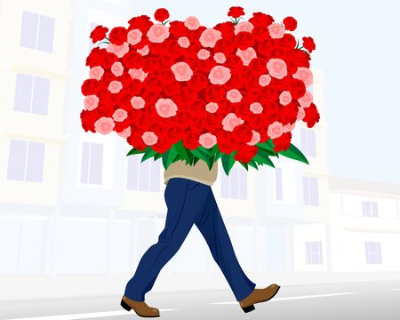 red rose bouquet: illustration of a man with huge bouquet