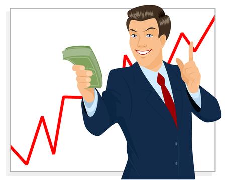 trader: illustration of a trader holding bundle of money Illustration