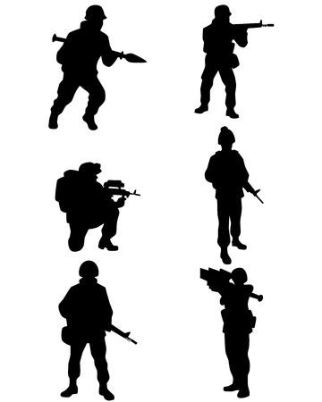 soldado: ilustración de un seis soldados establece Vectores