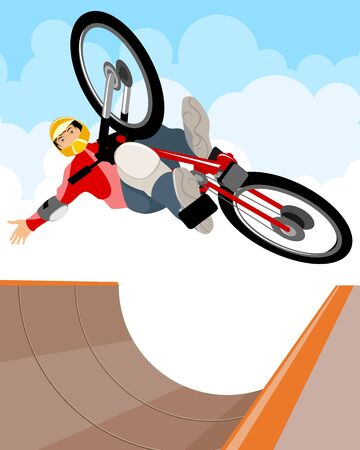 trick: illustration of a cyclist performs a trick