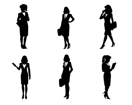 silhouette woman: illustration of a six businesswomen silhouettes