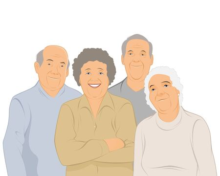 illustration of a four elderly people