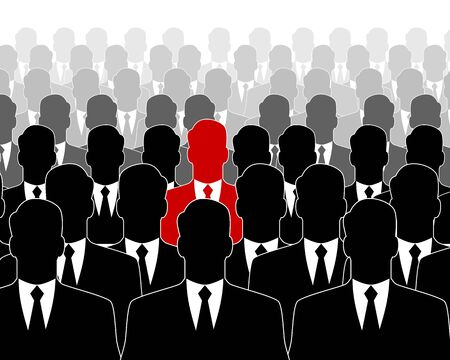 leader: Vector illustration of a leader in the crowd