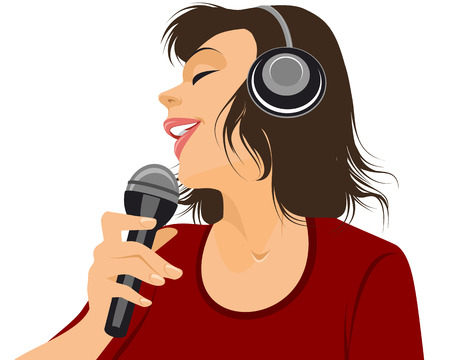 Vector illustration of a singer with microphone Illustration