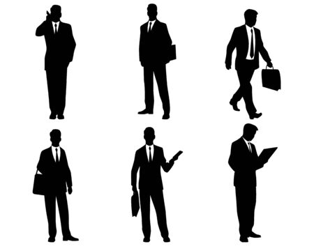 using phone: Vector illustration of a six businessmen silhouettes