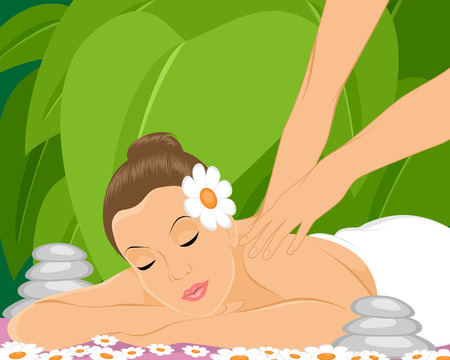 relaxation massage: Vector illustration of a masseur makes massage Illustration