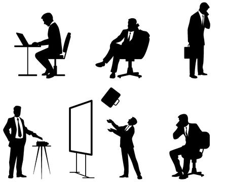 Illustrazione vettoriale di un periodo di sei uomini d'affari sagome Archivio Fotografico - 44247294