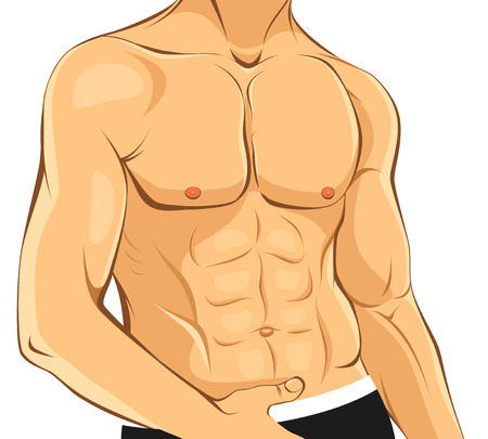 perfect fit: illustration of a guy with perfect body Illustration