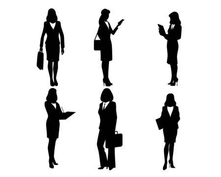 woman white shirt: illustration of a six businesswomen silhouettes
