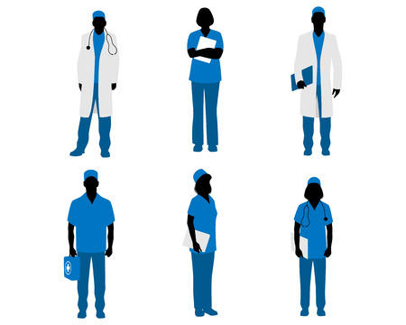 illustration  of a six doctors silhouettes on white
